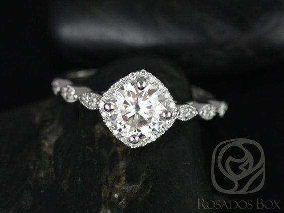 Rosados Box Katya 7mm 14kt White Gold Round F1- Moissanite and Diamond Kite Halo WITH Milgrain Engagement Ring