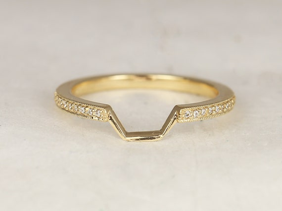 14kt Solid Gold Diamonds Curved Matching Band to Winona 7mm WITH Milgrain HALFWAY Eternity Ring,Rosados Box