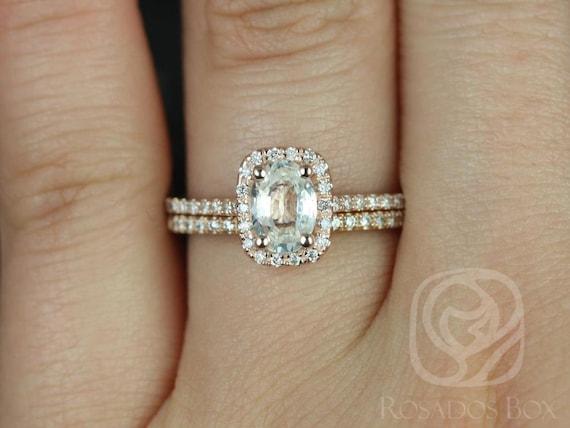 Rosados Box Romani 7x5mm 14kt Rose Gold Oval White Sapphire Diamond Cushion Halo Classic Wedding Set Rings