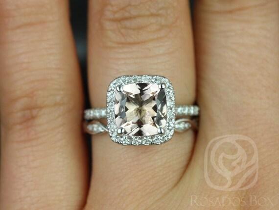Rosados Box Pernella 8mm & Ember 14kt White Gold Cushion Morganite and Diamonds Halo Wedding Set
