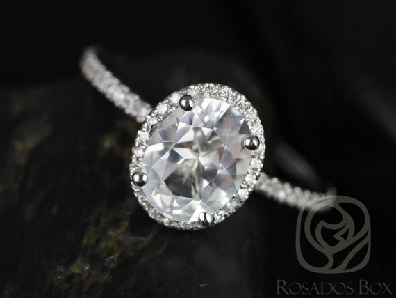 Rosados Box Jessica 9x7mm 14kt White Gold Oval White Topaz and Diamonds Halo Engagement Ring