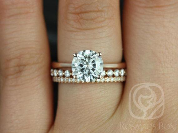 Rosados Box Skinny Flora 8mm, Petite Naomi & Kimberly 14kt F1- Moissanite and Diamonds TRIO Wedding Set