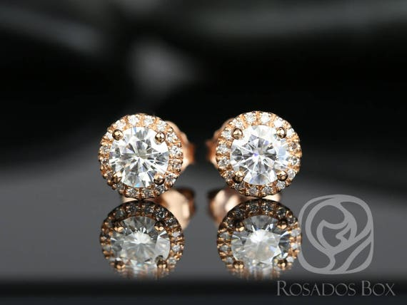 Rosados Box Ready to Ship Gemma 5mm 14kt WHITE Gold Round F1- Moissanite and Diamonds Halo Stud Earrings
