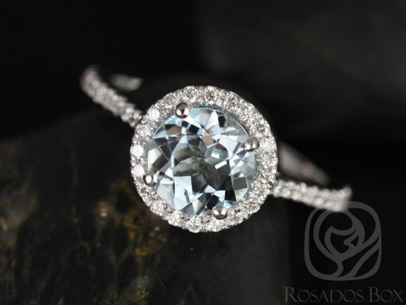 7mm Round Aquamarine Diamonds Thin Pave Round Halo Engagement Ring,14kt White Gold,Kubian 7mm,Rosados Box
