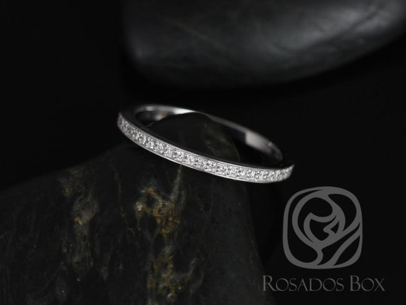 14kt White Gold Matching Band to Victoria/Rori Diamonds Dainty Pave WITHOUT Milgrain ALMOST Eternity Band Ring,Rosados Box