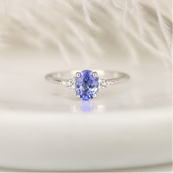 1.04ct Ready to Ship Maddy 14kt White Gold Rich Cornflower Lavender Sapphire Diamond Dainty Oval Cluster 3 Stone Ring,Rosados Box