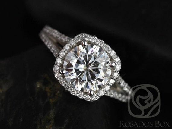 Rosados Box Pasley 8mm 14kt White Gold Forever One Moissanite Diamonds Cushion Halo Split Engagement Ring