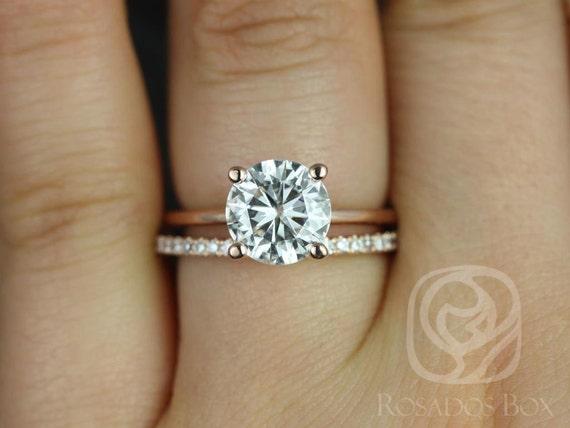 2ct Skinny Alberta 8mm & Swt Kubian 14kt Rose Gold Forever One Moissanite Diamond Dainty Round Solitaire Wedding Set Ring,Rosados Box