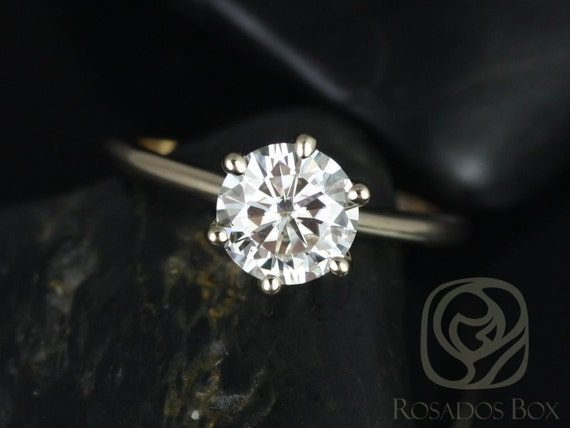 1.50ct Round Forever One Moissanite Thin 6 Prong Engagement Ring,14kt Solid Yellow Gold,Skinny Webster 7.5mm,Rosados Box