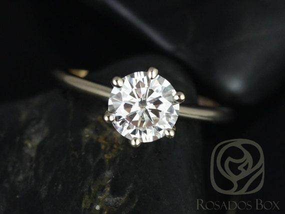 Rosados Box Skinny Webster 7.5mm 14kt Yellow Gold F1- Moissanite Six-Prong Webbed Engagement Ring