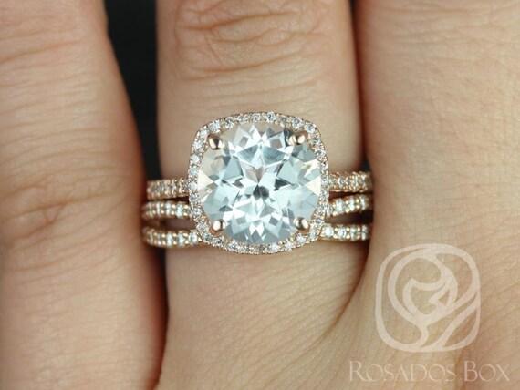 Rosados Box Barra 10mm & Skinny Lima 14kt Rose Gold Round White Topaz and Diamonds Cushion Halo Wedding Set
