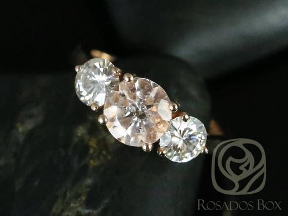 Round Morganite Forever One Moissanite 3 Stone Engagement Ring, 14kt Solid Rose Gold, Tina 7mm, Rosados Box