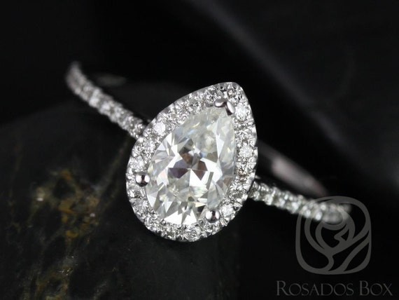 1ct Tabitha 8x5mm 14kt White Gold Forever One Moissanite Diamonds Pave Micro Pear Halo Engagement Ring,Rosados Box