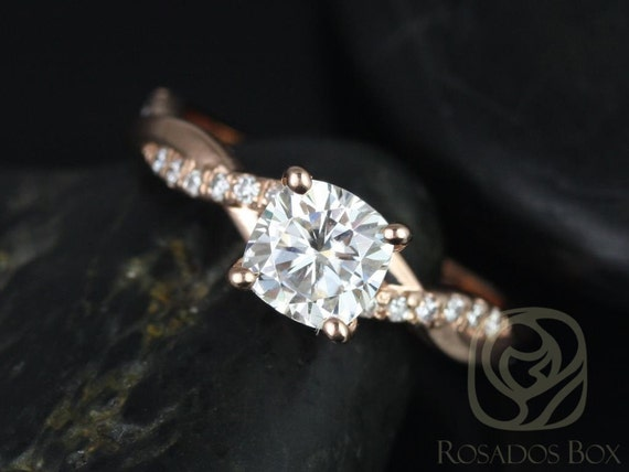 Ready to Ship Tressa 6mm 14kt Rose Gold Cushion Forever One Moissanite Diamond Pave Minimalist Twist Unique Engagement Ring,Rosados Box