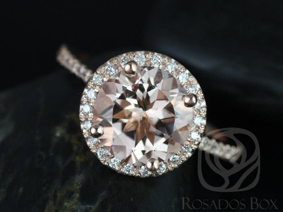 9mm Round Morganite White Sapphires Pave Petite Halo Engagement Ring,14kt Rose Gold,DIAMOND FREE Kubian 9mm,Rosados Box