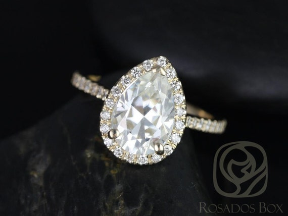2cts Pear Forever One Moissanite Diamonds Halo Engagement Ring,14kt Solid Yellow Gold,Tabitha 10x7mm,Rosados Box