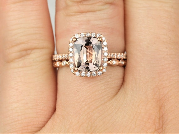 2.85ct Ready to Ship Carrie & Gwen 14kt Rose Gold Raspberry Champagne Sapphire Diamond Dainty Cushion Halo Wedding Set Rings,Rosados Box