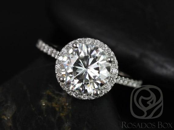 Rosados Box Kubian 8mm14kt White Gold Round Forever One Moissanite and Diamonds Halo Engagement Ring