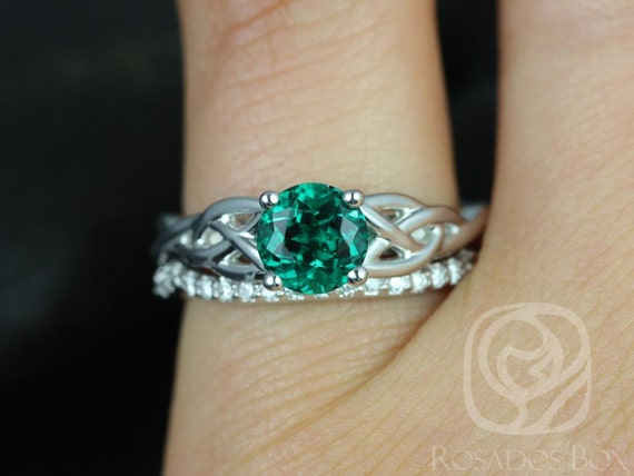 6mm Round Emerald & Diamond Celtic Love Knot Triquetra Wedding Set Rings,14kt Solid White Gold,Cassidy 6mm,Rosados Box