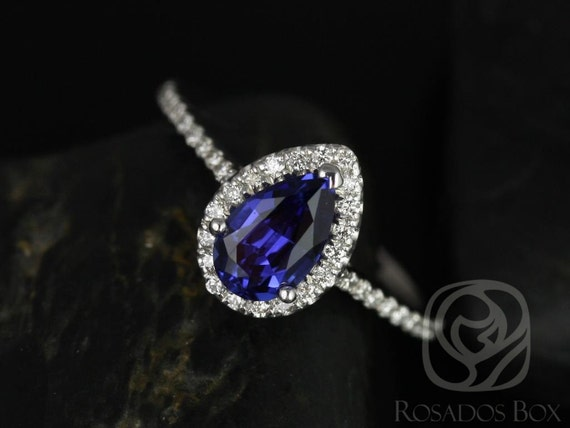 Tabitha 8x5mm 14kt White Gold Blue Sapphire Diamonds Dainty Pave Pear Halo Engagement Ring,Rosados Box
