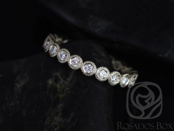 Rosados Box Original Bubbles 2.8mm 14kt Yellow Gold Round Diamond Bezel Art Deco WITH Milgrain FULL Eternity Band Ring