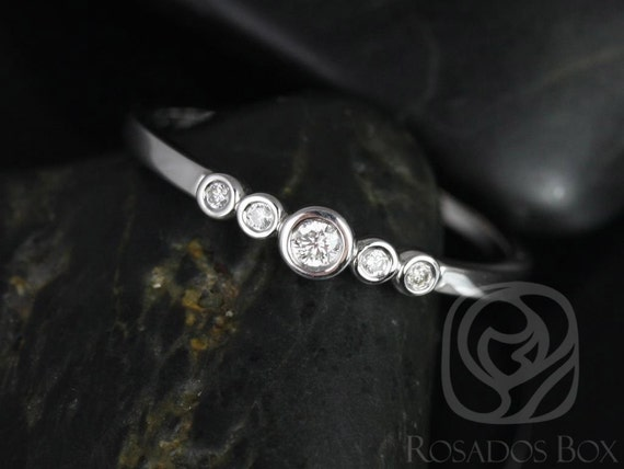 Rosados Box Bubbly 14kt White Gold Round Bezel Diamond Stack Band