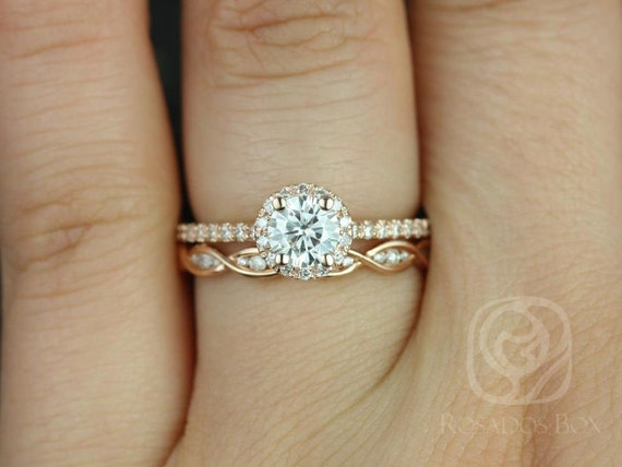Rosados Box Amanda 5mm & Ember 14kt Rose Gold Round Forever One Moissanite Diamond DNA Halo Wedding Set Rings