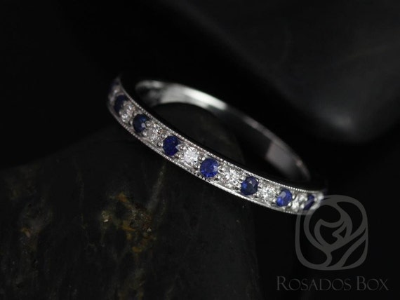 Rosados Box Grace 14kt White Gold Blue Sapphire and Diamonds WITH Milgrain HALFWAY Eternity Band
