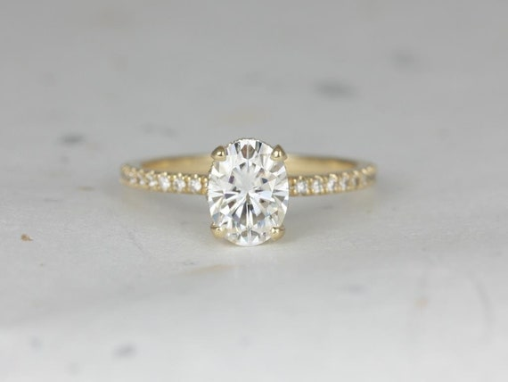 1.50ct Oval Forever One Moissanite Diamond Scarf Hidden Pave Halo Engagement Ring,14kt Solid Yellow Gold,Viviana 8x6mmRosados Box
