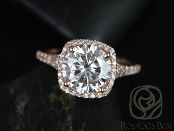 2.70ct Round Forever One Moissanite Diamonds Micropave Split Shank Cushion Halo Engagement Ring,14kt Rose Gold,Giselle 9mm,Rosados Box