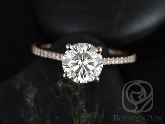 1.25ct Eloise 7mm 14kt Rose Gold Forever One Moissanite Diamonds Thin Cathedral Round Solitaire Accent Engagement Ring,Rosados Box