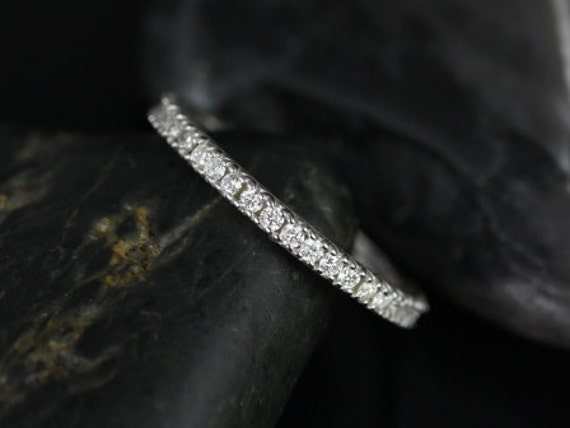 Rosados Box Faith 14kt White Gold Thin Floral & Heart Gallery Diamonds ALMOST Eternity Band