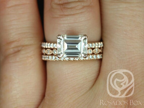 Rosados Box Becca 9x7mm & Gwen 14kt Gold Emerald Forever One Moissanite Diamonds TRIO Wedding Set Rings
