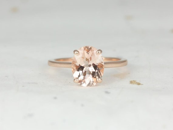 Oval Morganite Thin Low Cathedral Solitaire Engagement Ring, 14kt Solid Rose Gold, Delia 10x8mm, Rosados Box