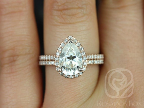 2cts Pear Forever One Moissanite Diamonds Halo Classic Wedding Set Rings,14kt Solid Rose Gold,Tabitha 10x7mm,Rosados Box