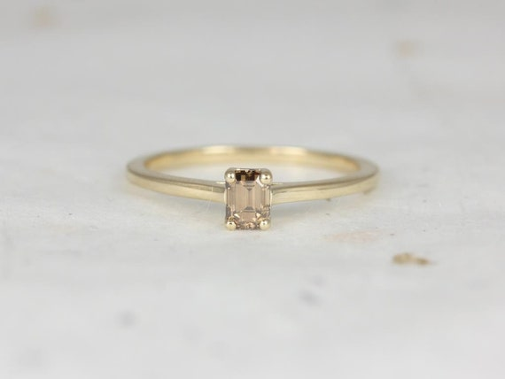 Rosados Box Ready to Ship Safa 0.41cts 14kt Yellow Gold Emerald Cognac Diamond Ring (S.L.A.Y. Collection)