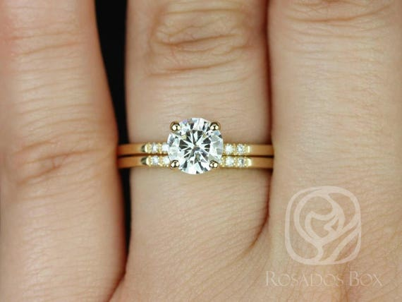 SALE Rosados Box Ready to Ship Gigi 6.5mm 14kt Yellow Gold Round FB Moissanite Diamond Short-Stop Classic Non-Cathedral Wedding Set