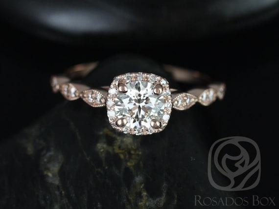 Rosados Box Christie 3/4ct 14kt Rose Gold Round Diamond Cushion Halo WITH Milgrain Engagement Ring
