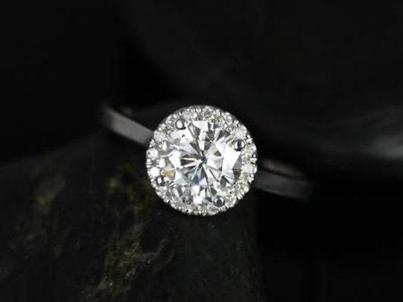 Rosados Box Monique 7mm 14kt White Gold Round Forever One Moissanite Diamonds Halo Engagement Ring