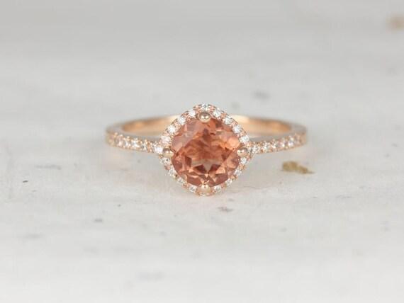 Kitana 7mm 14kt Rose Gold Sunstone Diamond Dainty Petite Pave Kite Cushion Halo Engagement Ring,Rosados Box