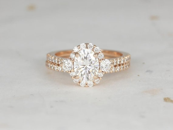 1.50ct Oval Forever One Moissanite Diamonds 3 Stone Unique Halo Wedding Set Rings, 14kt Soild Rose Gold,Bridgette 8x6mm,Rosados Box