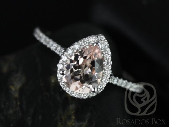 Ready to Ship Tabitha 8x6mm 14kt White Gold Morganite Diamonds Dainty Pave Pear Halo Engagement Ring,Rosados Box