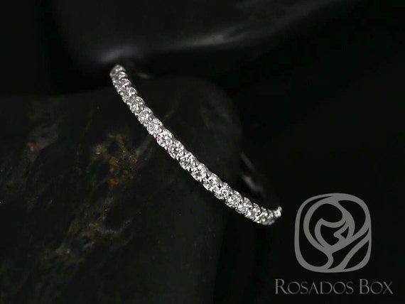 14kt Solid White Gold Diamond Shared Prong Matching Band to Natalia 9x7mm HALFWAY Eternity Band Ring,Rosados Box