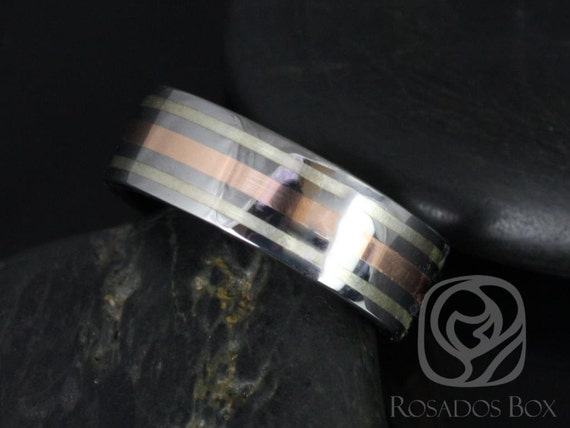 Rosados Box Gael 8mm 14kt Rose Gold & Silver Tungsten Carbide Trio Striped Band