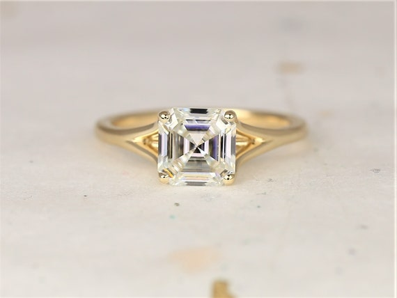 1.50cts Kenzie 7mm 14kt Solid Gold Forever One Moissanite Split Heart Asscher Minimalist Solitaire Engagement Ring,Rosados Box