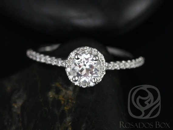 Rosados Box Amanda 5mm 14kt White Gold Round White Topaz and Diamonds Halo Engagement Ring