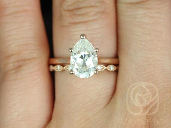 2ct Skinny Jane 10x7mm &Ult Pte Leah 14kt Rose Gold Forever One Moissanite Art Deco Pear Solitaire Wedding Set Rings,Rosados Box