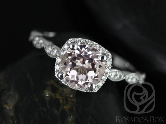 Rosados Box Christie 7mm 14kt White Gold Round Morganite and Diamonds Cushion Halo WITH Milgrain Engagement Ring