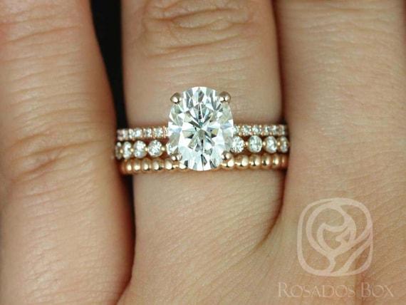 Rosados Box Hillary 9x7mm Naomi & Buddha Beads 14kt Rose Gold Oval Forever One Moissanite Diamond Basket TRIO Wedding Set Rings