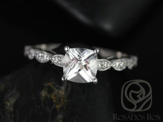 Rosados Box Helena 6mm 14kt White Gold Cushion White Topaz and Diamonds Engagement Ring